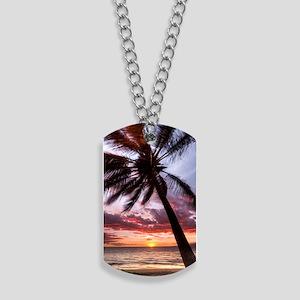 maui hawaii coconut palm tree sunset Dog Tags