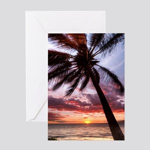 maui hawaii coconut palm tree sunset Greeting Card