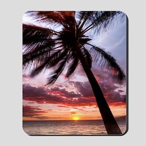 maui hawaii coconut palm tree sunset Mousepad