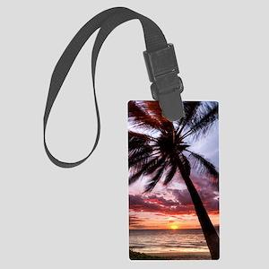 maui hawaii coconut palm tree su Large Luggage Tag