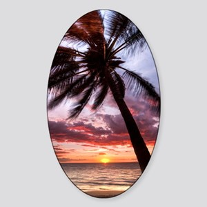 maui hawaii coconut palm tree sunse Sticker (Oval)
