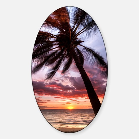 maui hawaii coconut palm tree sunse Sticker (Oval)