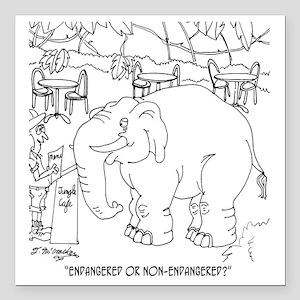 """5937_elephant_cartoon Square Car Magnet 3"""" x 3"""""""