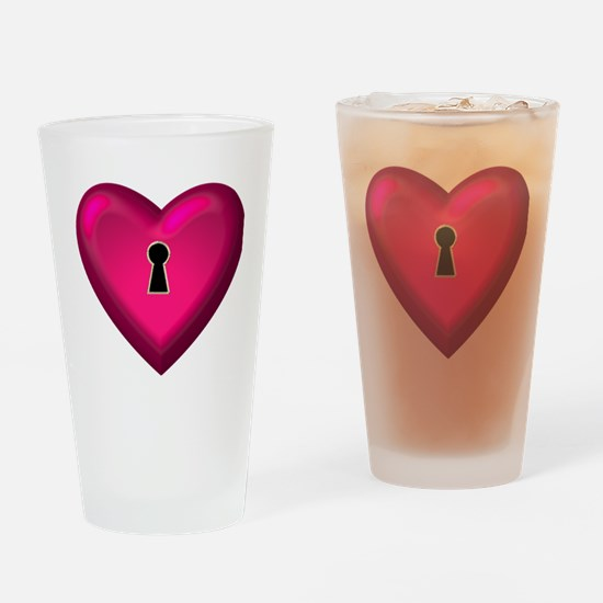 RED HEART KEYHOLE Drinking Glass