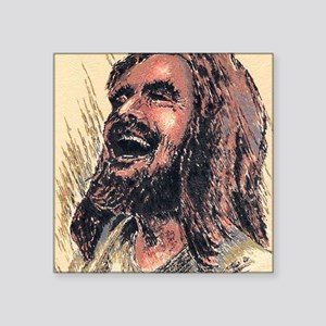 "Laughing_Jesus Square Sticker 3"" x 3"""