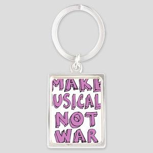 MAKE-MUSICALS-NOT-WAR-PURPL Portrait Keychain
