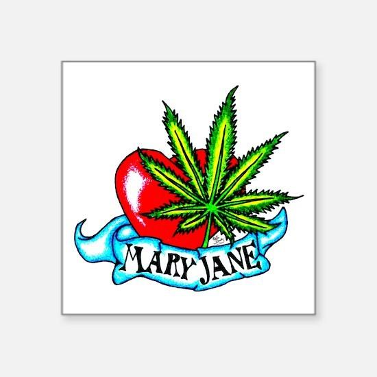"Mary Jane Heart Square Sticker 3"" x 3"""