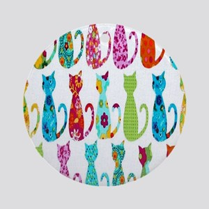 Calico Cat Round Ornament