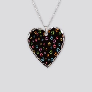 Catty Paws Necklace Heart Charm