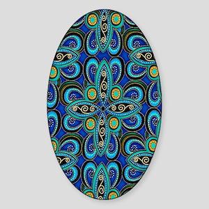 Floral Blue Sticker (Oval)