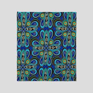 Floral Blue Throw Blanket