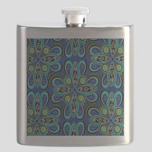 Floral Blue Flask