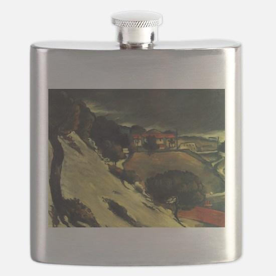 Snowmelt in LEstaque - Paul Cezanne - c1870 Flask