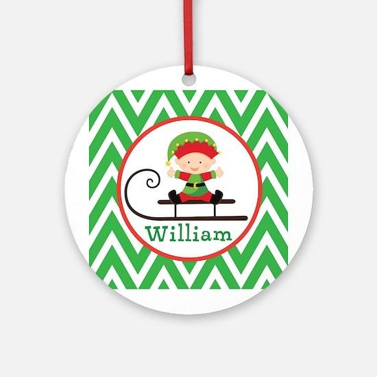 Personalized Elf Christmas Chevron Ornament (Round