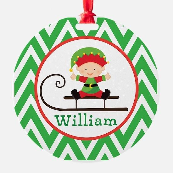 Personalized Elf Christmas Chevron Ornament