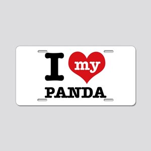 i love my Panda Aluminum License Plate