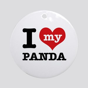 i love my Panda Ornament (Round)
