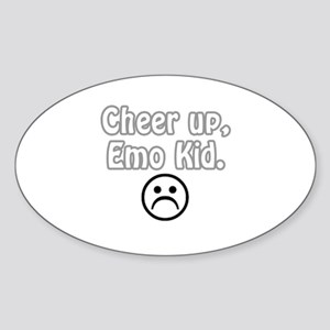 Cheer up, emo kid Oval Sticker
