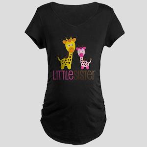 GiraffeLittleSisterV2 Maternity Dark T-Shirt
