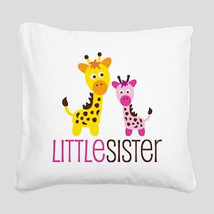 GiraffeLittleSisterV2 Square Canvas Pillow