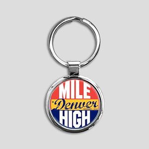 Denver Vintage Label W Round Keychain