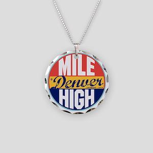 Denver Vintage Label W Necklace Circle Charm