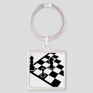 chess_field_w_figures Square Keychain