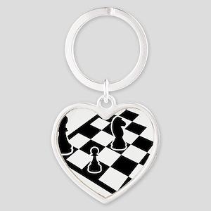 chess_field_w_figures Heart Keychain