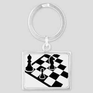 chess_field_w_figures Landscape Keychain
