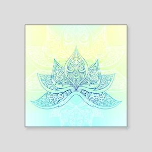 "Pale Blue Lotus Square Sticker 3"" x 3"""