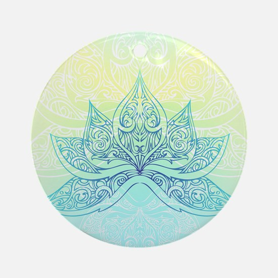 Pale Blue Lotus Round Ornament
