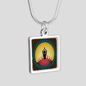 Sunrise Yoga Art Silver Square Necklace