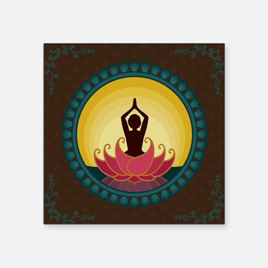 "Sunrise Yoga Art Square Sticker 3"" x 3"""