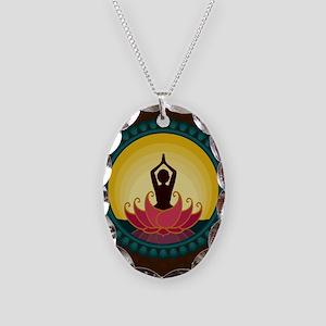Sunrise Yoga Art Necklace Oval Charm