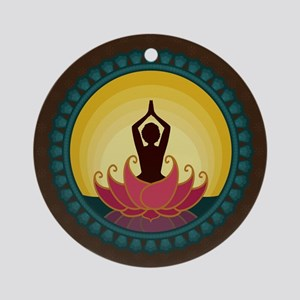 Sunrise Yoga Art Round Ornament