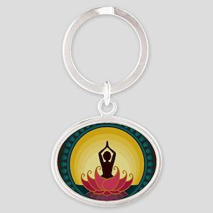 Sunrise Yoga Art Oval Keychain