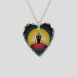 Sunrise Yoga Art Necklace Heart Charm