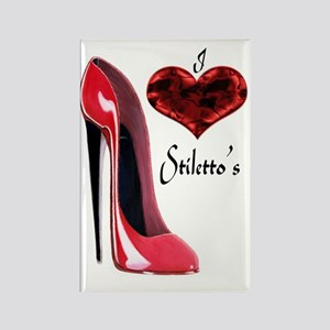 love red stiletto and heart Rectangle Magnet