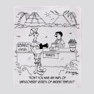 6849_mayan_cartoon Throw Blanket