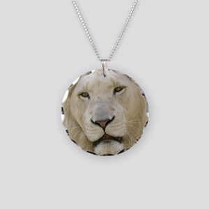 blonde lion note Necklace Circle Charm