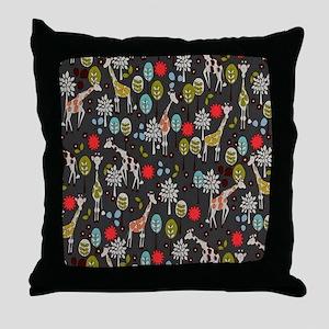 Giraffe Garden Throw Pillow