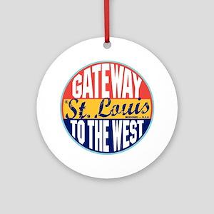 St Louis Vintage Label W Round Ornament