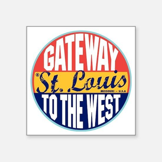 "St Louis Vintage Label W Square Sticker 3"" x 3"""