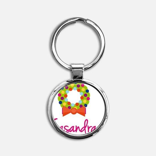 Christmas-wreath-Casandra Round Keychain