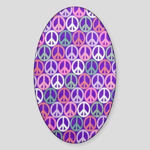 Glitter Peace Signs copyy Sticker (Oval)