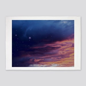 Colorful storm clouds at sunset and 5'x7'Area Rug