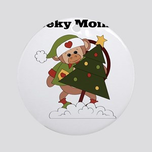 cheeky monkey christmas Round Ornament