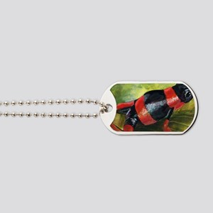 Red and black dart frog Dog Tags