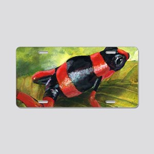 Red and black dart frog Aluminum License Plate