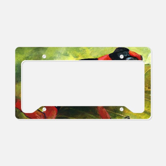 Red and black dart frog License Plate Holder